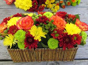Осенние цветы в кашпо