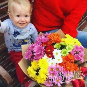 Букет хризантем для юного именинника - фото
