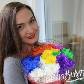 Букет разноцветных хризантем для девушки - фото