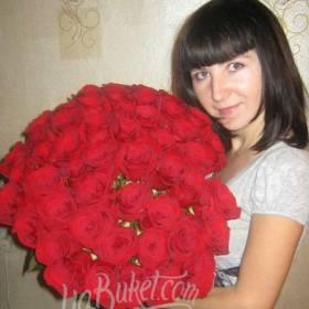Букет красных роз для именинницы - фото
