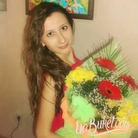 Букет из хризантем и гербер для девушки - фото