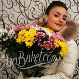 Разноцветные хризантемы для получательницы - фото