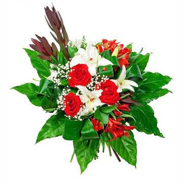 торжественный бело-красный ансамбль роз и лилий.jpeg