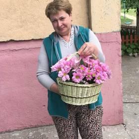 Именинница с корзиной розовых ромашек - фото
