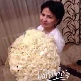 Букет из белых роз для любимой мамы - фото
