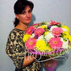 Букет гербер и хризантем для сестры - фото