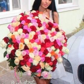 Девушка с огромным букетом разноцветных роз - фото