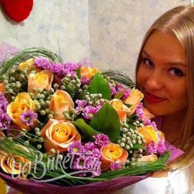Букет розовых хризантем и желтых роз для любимой дочки - фото