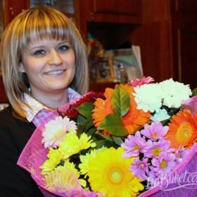 Букет гербер и хризантем для именинницы - фото