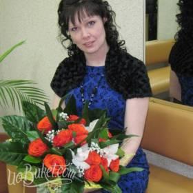 Букет из роз и орхидей для любимой жены - фото