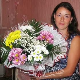 Букет из хризантем для именинницы - фото