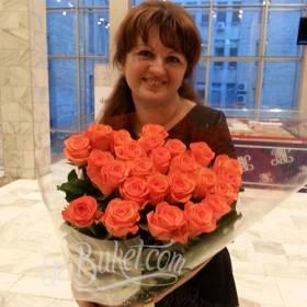 Букет оранжевых роз для именинницы - фото
