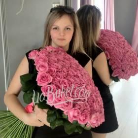 Роскошный букет розовых роз для девушки - фото
